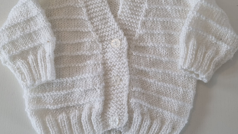 0-3m White Glitter Knitted Cardigan (Preloved)