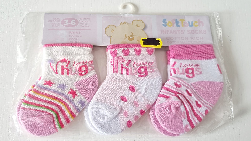 3-6  Month  Soft touch 3 Pack Socks (Newi n pack)