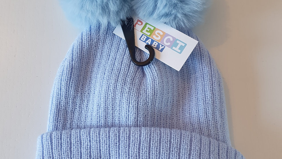 3-6  Month Pesci Baby Hat With 2 Pom Pom (New with tag)