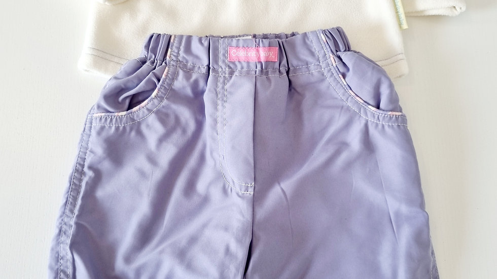3-6  Month  Celebrity Baby Thick Trousers & Fleece Jumper (Pre-loved)