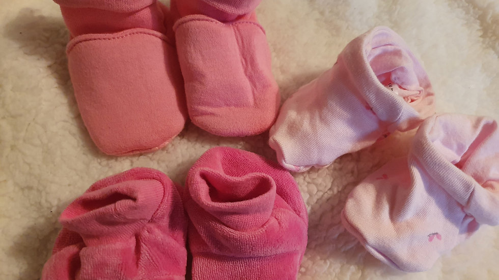 0-6 Month 3 pairs booties (Pre-loved)