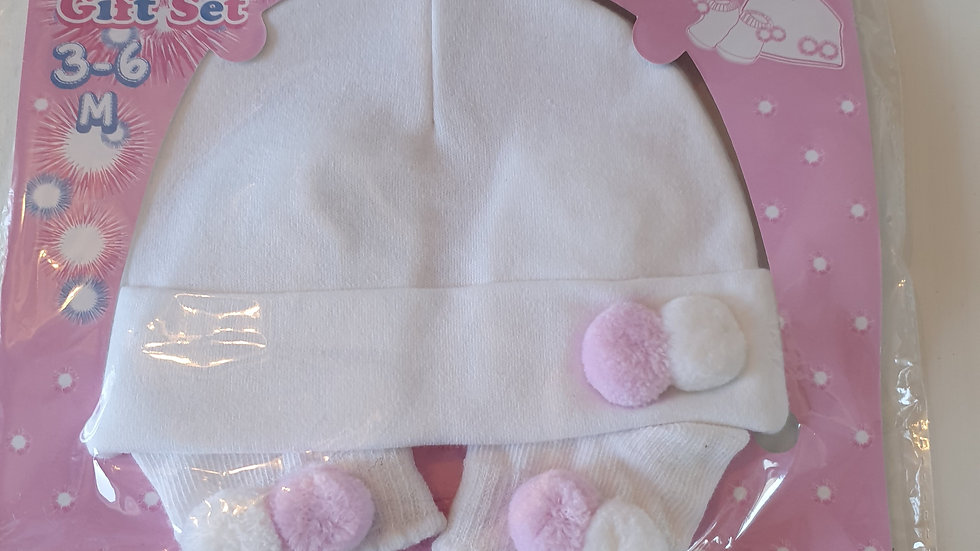 3-6 Month Soft Touch Pompom hat & Socks set (New in Pack)