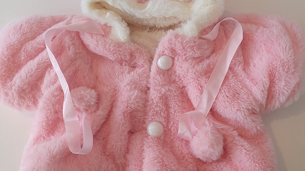 0-6 Month Fluffy  Coat with hood & Pompoms (Pre-loved)