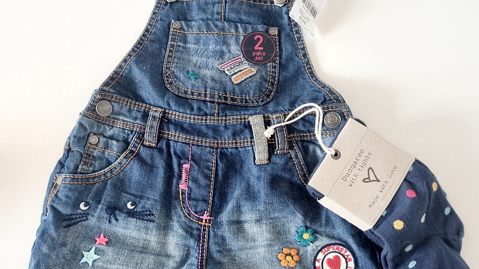 3-4 Years Nezt Short Dungarees with Tights (New with £24 tags)