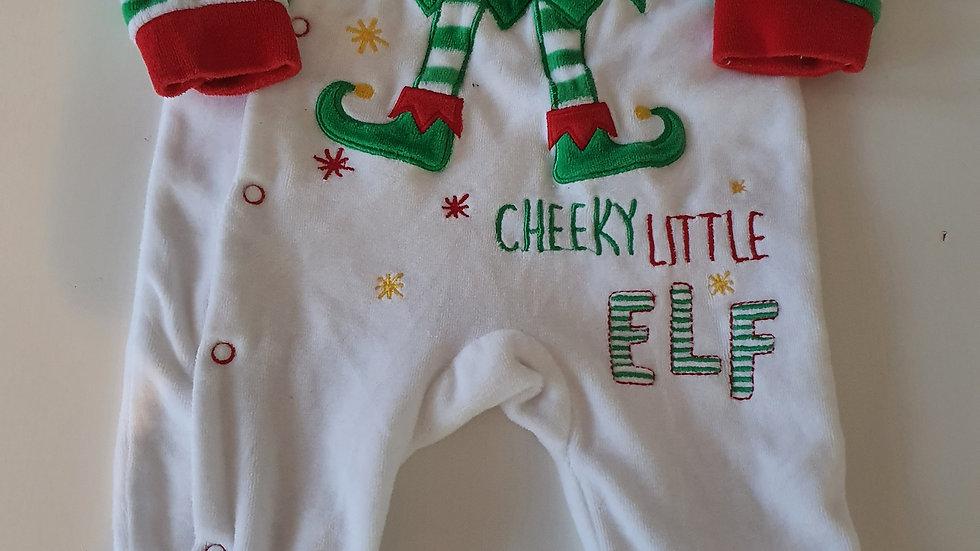 0-3 Month Cheeky Little Elf Velvet Babygrow (Pre-loved)