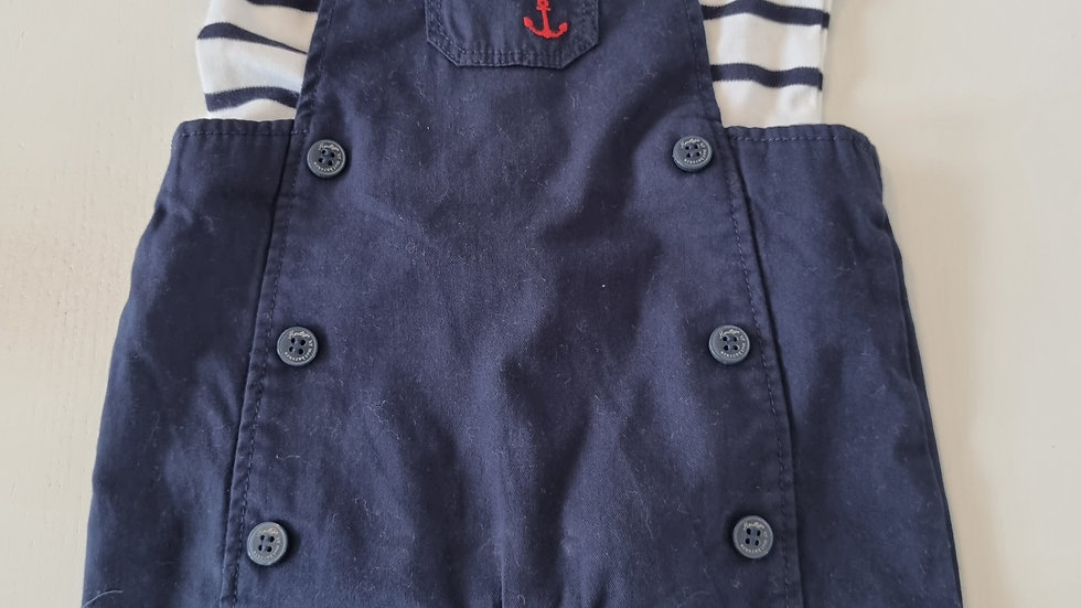1-3 Month Mothercare  Short dungarees & Top ( New with tags)