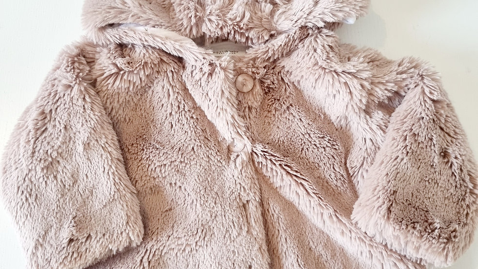 3-6 Month Next Fluffy  Coat with hood ( Pre-loved)