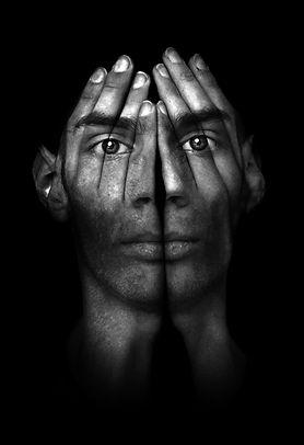 Surreal dark portrait of a young man cov