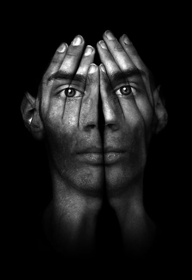 Surreal dark portrait of a young man cov