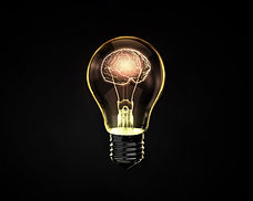 Light bulb with human brain inside on da