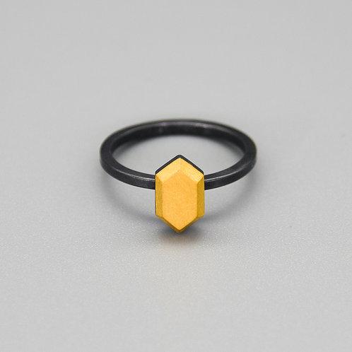 'Gem-metal' Hexagon Keum-boo Rings