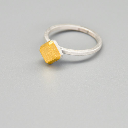 'Gem-metal' Square Keum-boo Rings