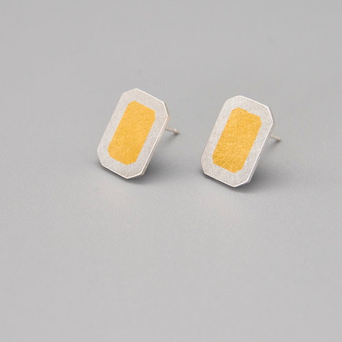 'Gem-metal' Rectangle Keum-boo Earrings