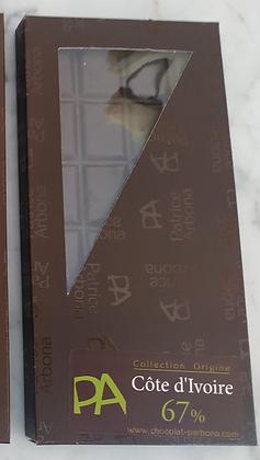 Tablette Chocolat Artisanal : Noir 67 % Cote Ivoire - 100 gr