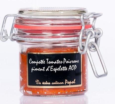 Compotée tomates poivrons au piment d'Espelette AOP - 90 g.