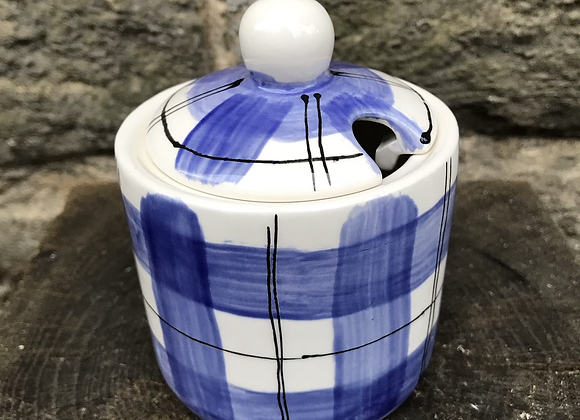 Blue Tartan Sugar Pot