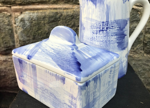 Blue Strokes Butter Dish
