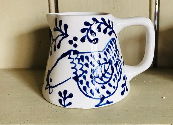 Bloomsbury hen Baby jug blue