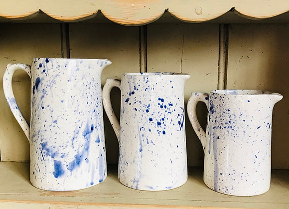 Splatterware Small Farmhouse  jug blue