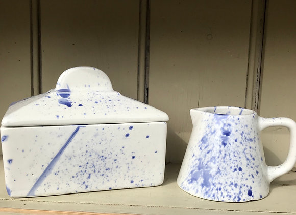 Blue Splatterware butter dish