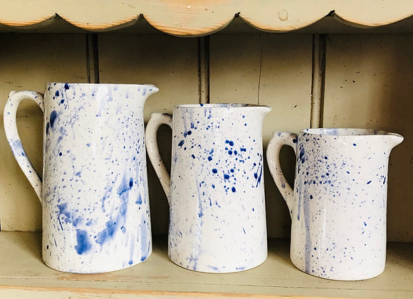 Splatterware Large Farmhouse jug blue