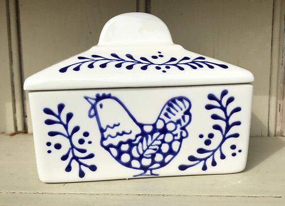 Blue hen butter dish
