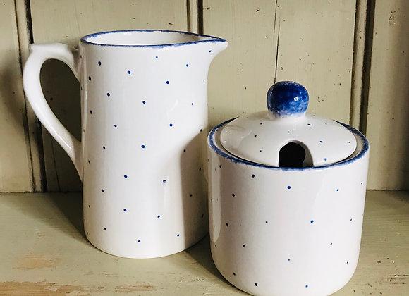 Blue Mini Spot Sugar Pot