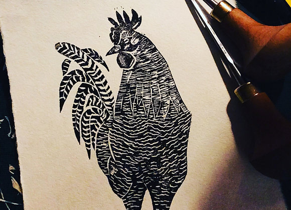 Lino Cut Maran Cockerel