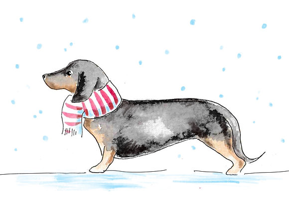 Dachshund Christmas Cards set of 6