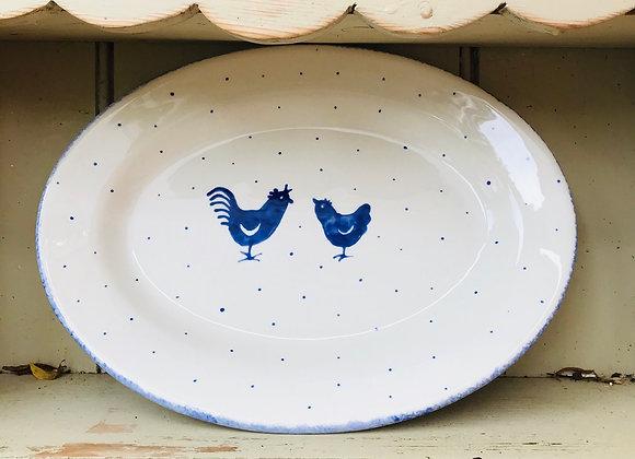 Blue hen oval platter