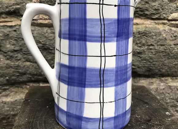 Blue Tartan Medium Farmhouse jug