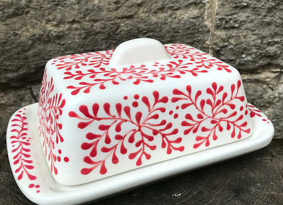 Mulberry Red Flat Base Butter Dish