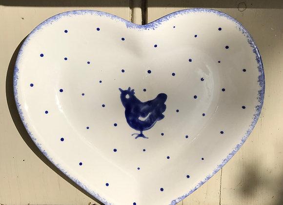Blue Hen  heart plate