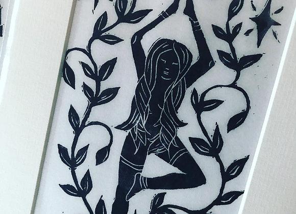 Linocut  Grounded Goddess