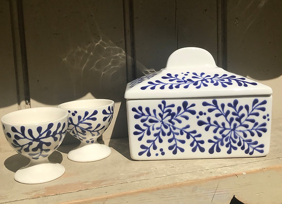 Mulberry blue & white butter dish