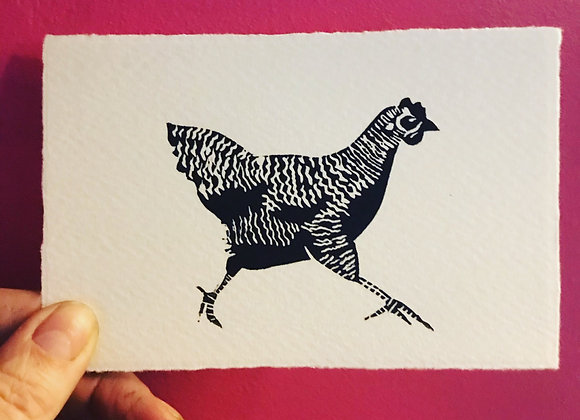 Running Hen Lino Cut set of 6 post cards