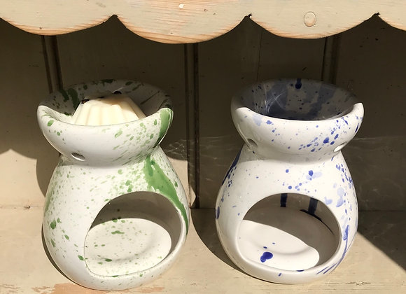 Splatterware oil burner green & white