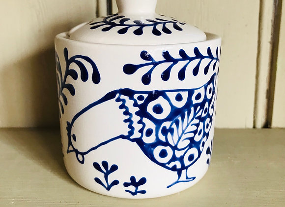 Bloomsbury hen Sugar pot blue