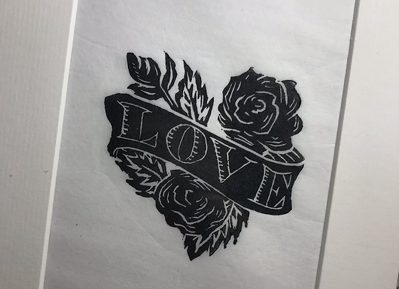 Lino Cut Rose Love Heart