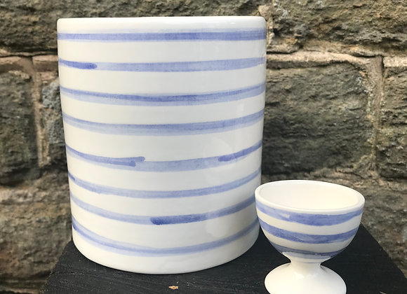 Blue Stripe Utensil Pot