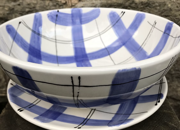 Blue Tartan 21cm Supper Bowl