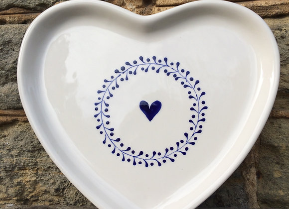 Blue Mistrel Large Heart Plate