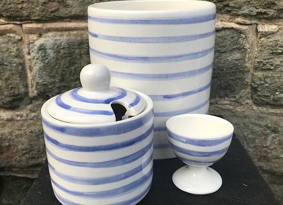 Blue Stripe Sugar Pot
