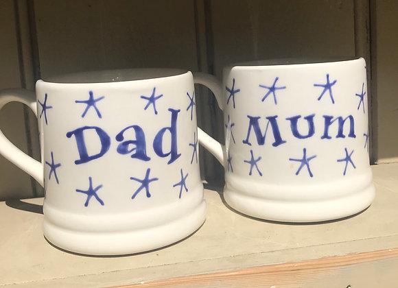 Star regular mug with lettering