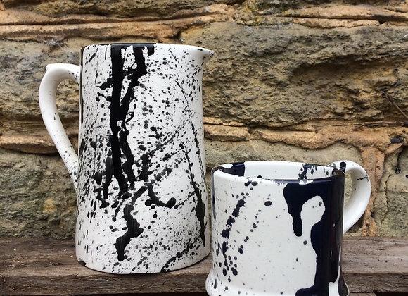 Black graffiti medium farmhouse jug