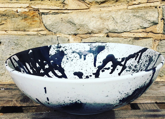 Black graffiti large serving bowl