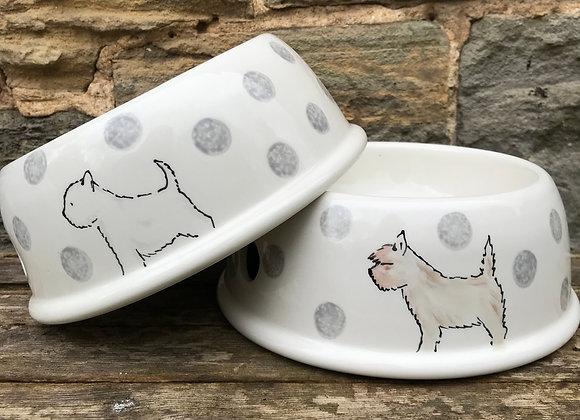 Dotty Dog Large Curved Dog Bowl