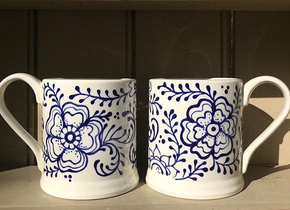 Fleurs mugs blue extra large
