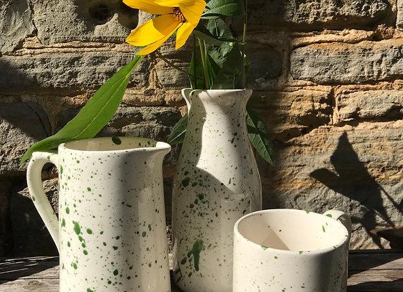 Green medium farmhouse jug splatter