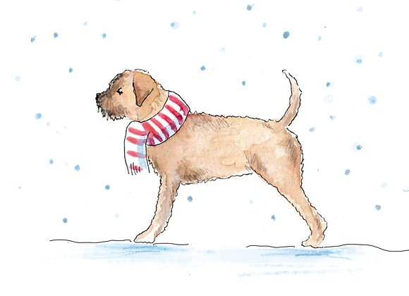 Border Terrier Christmas Cards set of 6